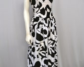 Bold ABSTRACT GRAPHIC Strapless Dress Black & White Sz XL Boned Bustier Sweetheart Bodice, Full Midi or Maxi Skirt, and Pockets, Too