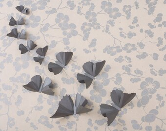 3D Butterfly Wall Art: Steel Grey Metallic Butterfly Silhouettes for Girls Room, Nursery, and Home Art Decor