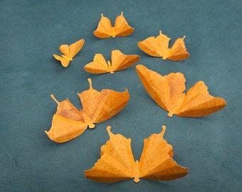 3D Butterfly Wall Art: Orange Scorched Script Paper Butterflies for Wall Decor, Dorm Room