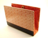 Book Purse or Clutch Wallet from Recycled Readers Digest Book in Orange and Navy Blue