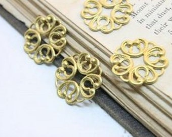10 pcs RAW Brass Filigree  Jewelry Stampings Connectors Setting Cab Base Connector Finding  (FILIG-RB-48)