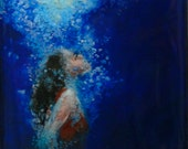 SOLD -- Art . Original Painting . Swimmer emerges from dark waters wrapped in bubbles - Rise - 10 x 10 inch frame with 6 x 6 painting