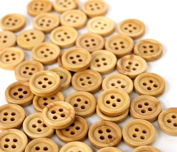 Round Wooden Buttons. Natural. Beige. Light brown. 25 pcs. 15mm 0.59 inch. 4 holes.