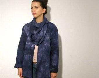 Fall wrap jacket tie dye blue white ready to ship