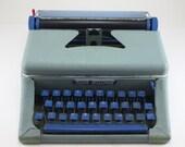 Vintage Toy Typewriter Tom Thumb Aqua & Blue