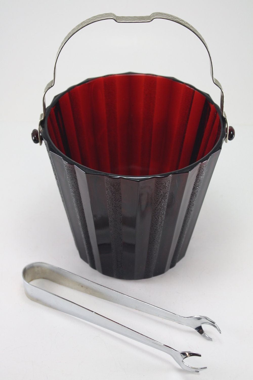 vintage ruby red glass ice bucket and tongs