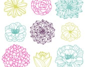 Flower Silhouettes Photoshop Brushes 3, Flower Photoshop Brushes - Commercial and Personal Use