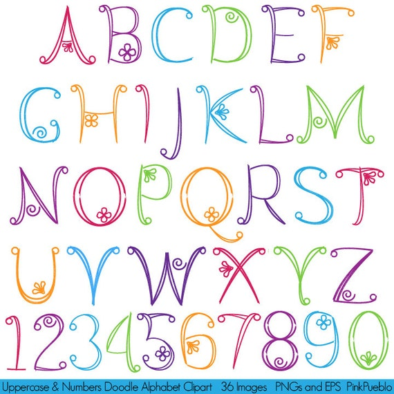 This Would Be Cute To Change Into The Welcome Letter To: Doodle Alphabet Hand Drawn Font Uppercase And Numbers