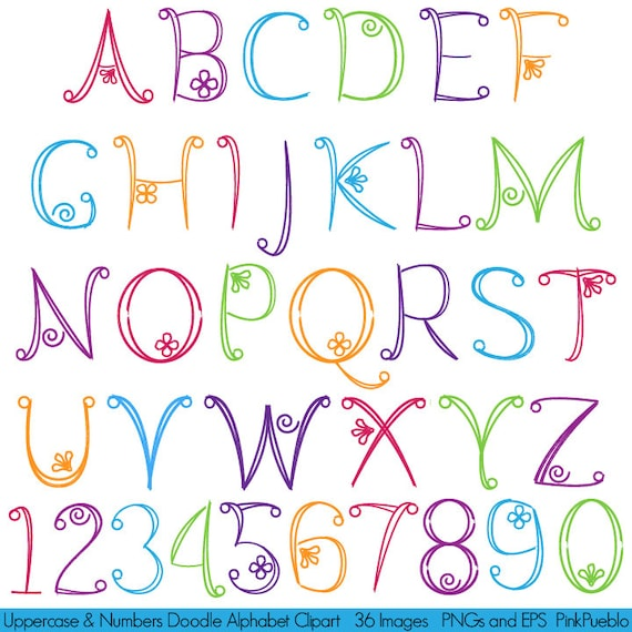 Doodle Alphabet Hand Drawn Font Uppercase And Numbers
