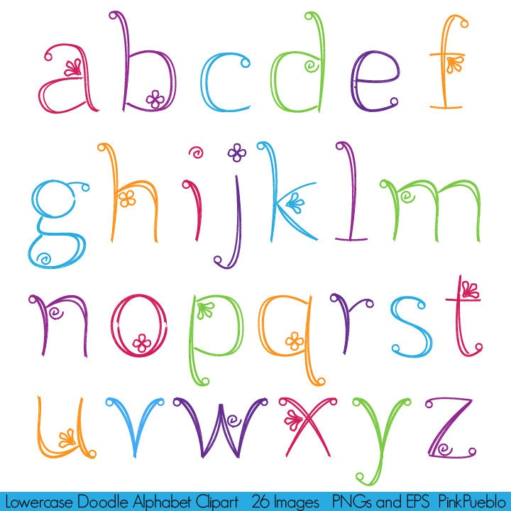 Doodle Alphabet Hand Drawn Girly Font Lowercase Commercial Girly Fonts