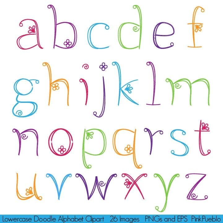 Girly Alphabet Fonts Doodle Alphabet Hand D...