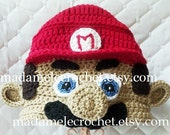 Newborn to Adult Plumber with Red Crochet Hat - Made to Order