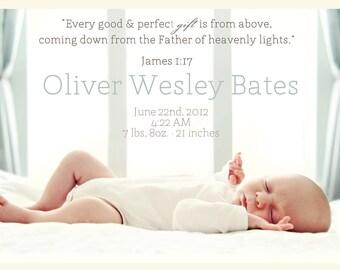 James 1:17  Baby Announcement Design