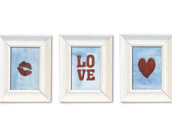 DIGITAL Love illustrations-lips, heart, love-postcard sized download of original pencil and acrylic illustration