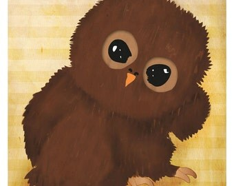 DIGITAL Baby owl-postcard sized instant download of original illustration