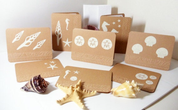 Reserved for Liz    Blank Note Cards- Beach- Embossed- Greeting Card- 8 Card Boxed Set-