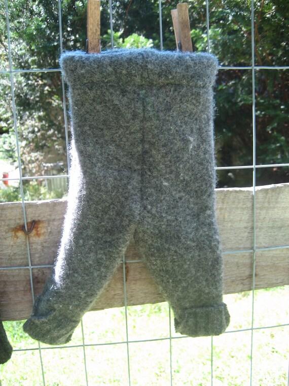 Newborn Wool Longies (upcycled), gray
