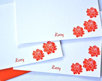 Personalized Letterpress Stationery Pikake Jasmine Blossoms Customized Cards