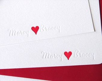 Personalized Wedding Thank You Letterpress Cards Name and Red Inked Heart (100)