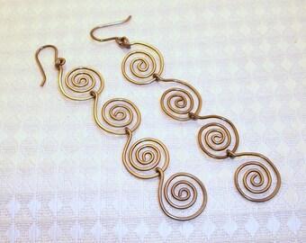 Gun Metal Spiral Earrings Free Shipping