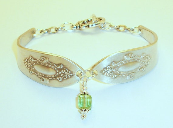 August Birthstone Silver Spoon Bracelet FREE SHIPPING