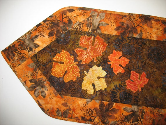 Batik Table Runner Quilted with Autumn Maple Leaves Appliqued