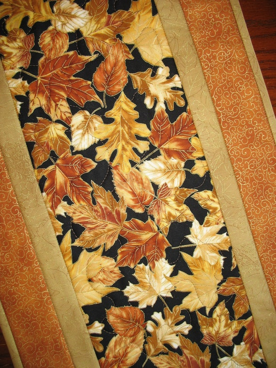 Autumn Table Runner Quilted focus fabric from Timeless Treasures