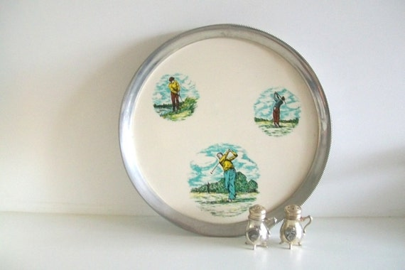 Vintage Round Golf Serving Tray