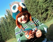 Owl Hat with earflaps- newborn to 18 month sizes- brown, teal and orange