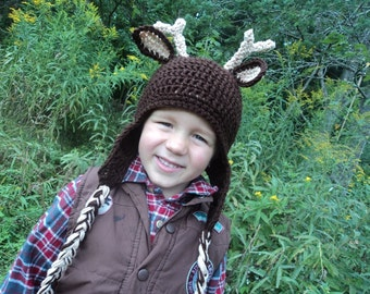 Deer Hat- buck horns antlers whitetail reindeer hunting- sizes 2T and up