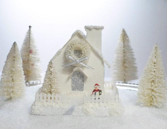 Putz Glitter House Cottage White Collection