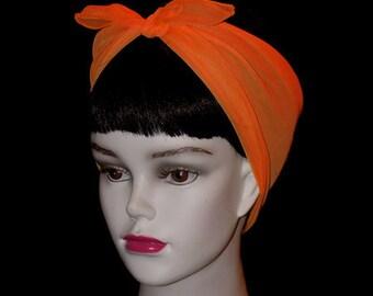 Orange Rockabilly 50's Style Hair n' Neck Chiffon Scarf