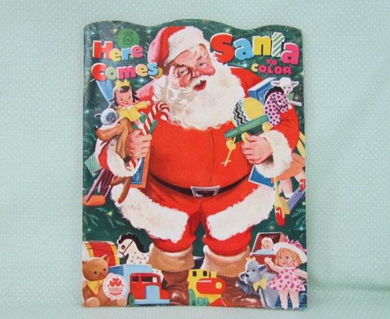 1960 Christmas Toys : Vintage santa claus coloring book s for children