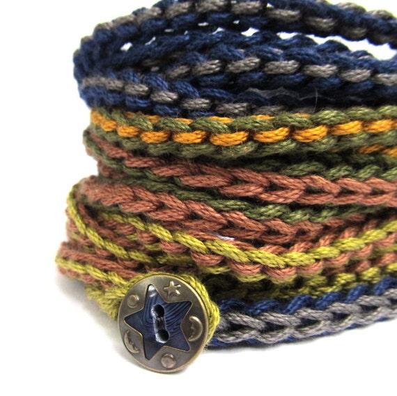 SALE 25% OFF Crochet wrap bracelet, navy, olive, crochet jewelry, fiber jewelry, cuff bracelet, bohemian jewelry, fall fashion