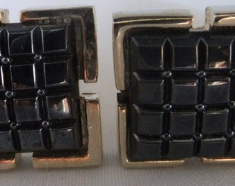 Vintage jewelry cufflinks in gold tone and black glass formal cuff links Sale half price