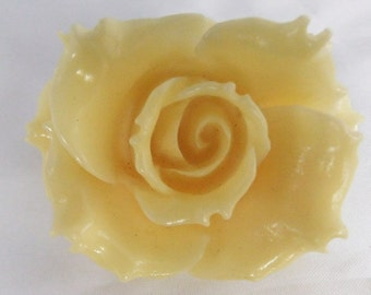 Vintage jewelry brooch in ivory plastic rose brooch Sale half price