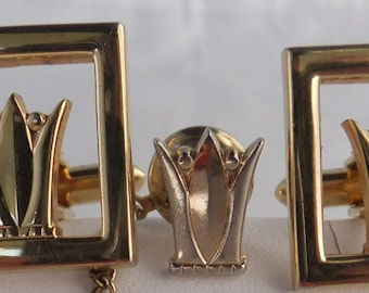 Vintage jewelry cuff links set  in gold tone by Swank cuff links crown motif cuff links tie tack Presidents sale
