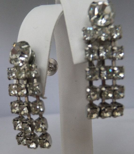Vintage jewelry earrings in silver tone hand set closed back clear rhinestone screw back dangle earrings Sale half price