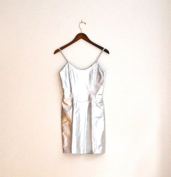 Stunning Metallic Silver Leather Dress Cache  Size S