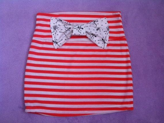 HALLOWEEN special orange striped mini skirt with large skeleton bone bow