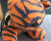 Orange and Dark Blue Striped Kitty, Leokins the Cat 12 inch plush fleece stuffed cat