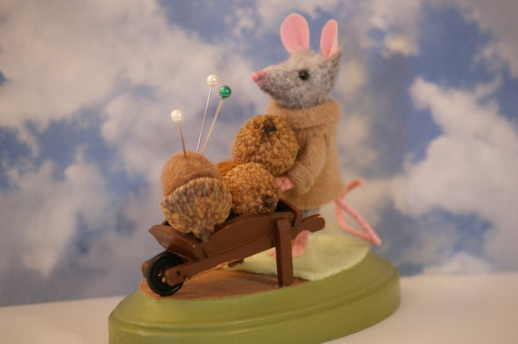 Felt Mouse with Needle Felted Acorns Pincushion