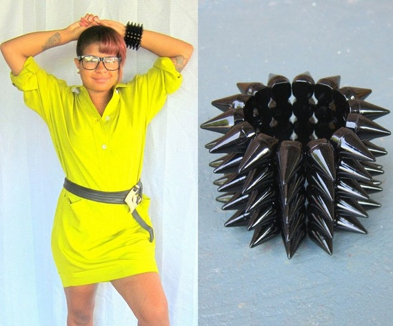 Vintage Spiked Bracelet - 1980s Cast Plastic Stretchy Bangle