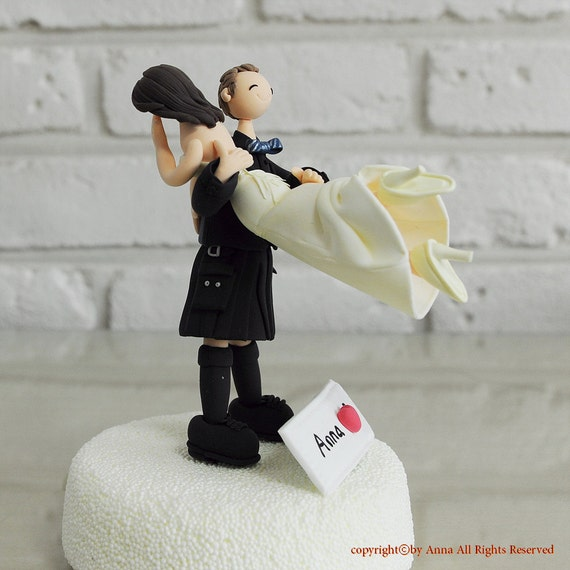 wedding cake toppers funny kilt items similar to personalized scottish kilt custom wedding 26474