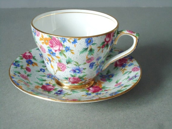 Vintage Chintz Teacups and Saucers - Chintz Tea Cups and Saucers - Vintage Chintz Cups and Saucers Set