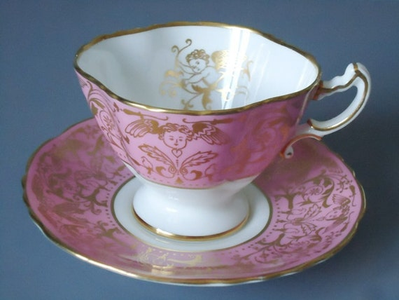 Vintage Pink and Gold Gilt Cupid Putti Tea Cup and Saucer Set - Vintage Teacup and Saucer Set - Vintage Teacup and Saucer