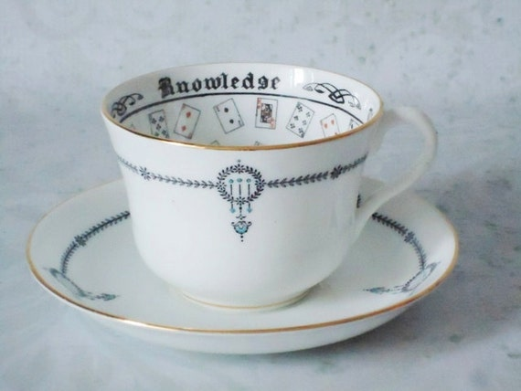 Vintage Halloween Fortune Telling Tea Cup and Saucer Set - Rare Jackson Gosling Teacup and Saucer Set - Cup of Knowledge