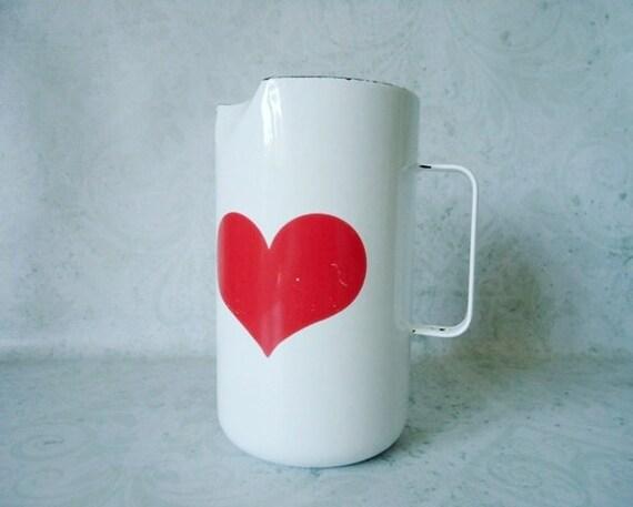 MCM Arabia Finland Heart Pitcher - Enamelware Water Pitcher - Vintage Arabia Kaj Franck Heart