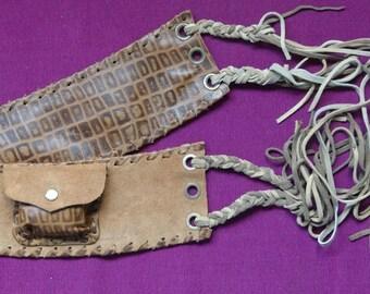String Suede Belt with small pocket -Waist Bag - Burning man - Belt Pouch - Festival belt - hip belt