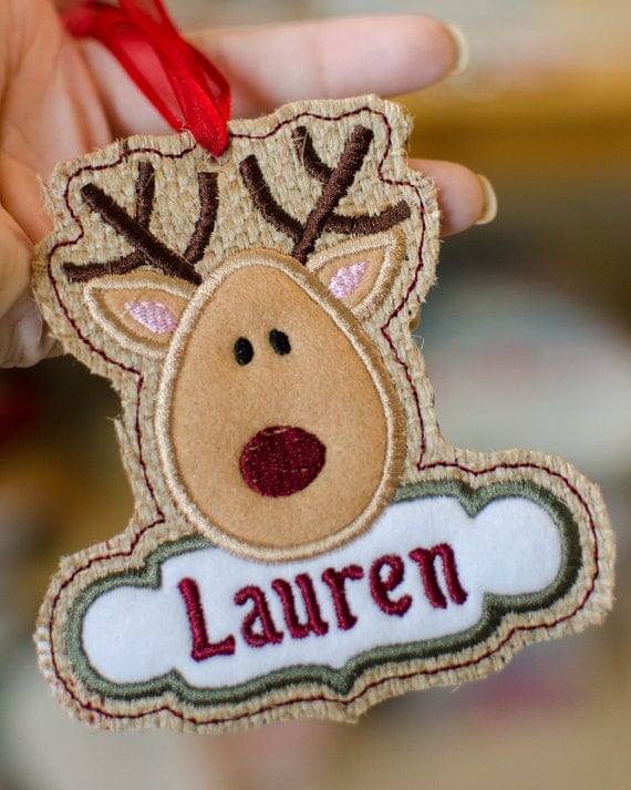 Instant Download In-the-hoop SPECIAL 4 Pack BUNDLE CHRISTMAS Tag / Tree Ornament Applique ...